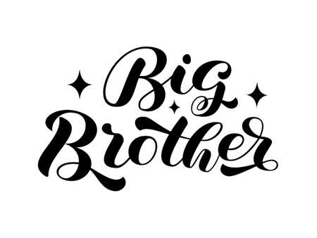 Big Brother brush lettering. Word for banner or poster. Vector stock illustration