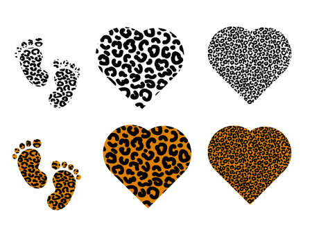 Set of leopard prints with footprints and hearts. Vector stock illustration for banner or poster.