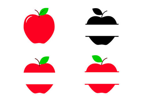 Set of apple frames isolated on a white background. Vector stock illustration for banner or poster