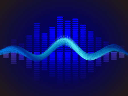 Music neon blue equalizer. Vector stock illustration for poster or card