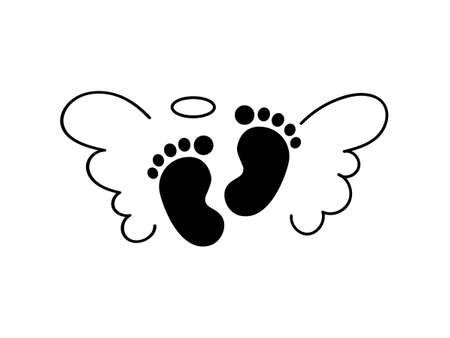 Baby footprint with angel wings. Vector illustration for poster or banner. Illusztráció