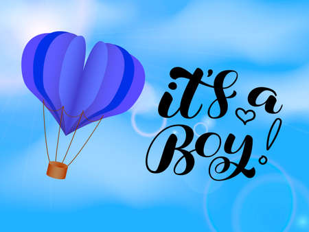It's a Boy brush lettering. Quote for card or clothes. Vector stock illustration