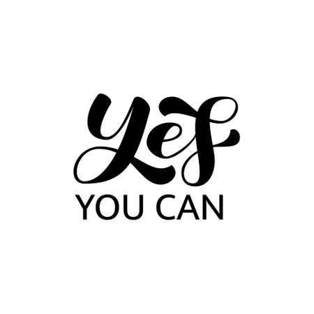 Yes you can lettering. Vector stock illustration for poster or banner Illusztráció