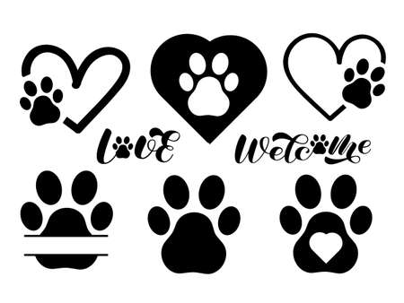 Set of paw, frame and hearts. Vector stock illustration for banner or poster. Space for text