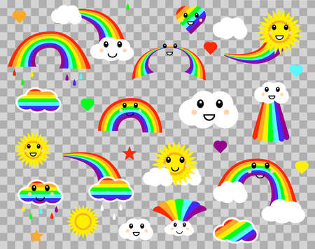 Vector stock illustration. Set of colorful clouds and rainbows isolated on a transperent bakground.