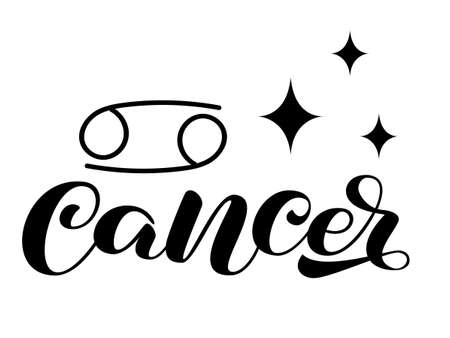 Cancer zodiac brush lettering with sign and star. Vector stock illustration for banner or clothes.