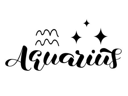 Aquarius zodiac brush lettering with sign and star. Vector stock illustration for banner or clothes.