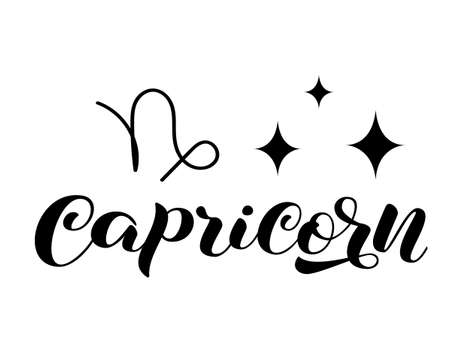 Capricorn zodiac brush lettering with sign and star. Vector stock illustration for banner or clothes.