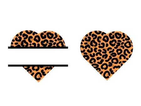 Set of leopard prints hearts. Split monogram. Vector stock illustration for banner or poster.