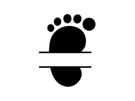 Baby footprint split frame monogram. Vector illustration for poster or banner.