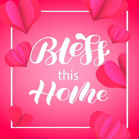 Bless this Home brush lettering. Quote for card or poster. Vector stock illustration