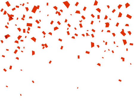 Vector stock illustration. Falling red confetti isolated on a white background for card or poster