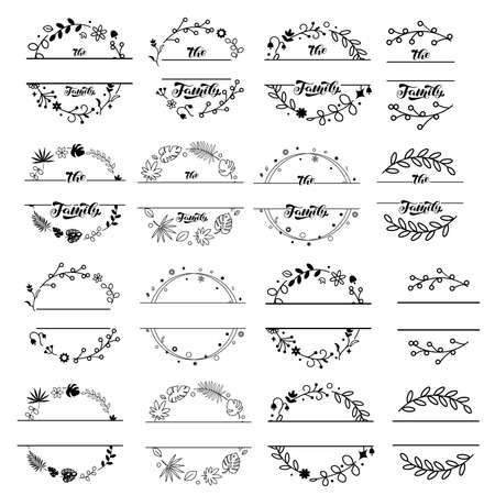 Wildflower wreaths and frames with Family lettering set. Vector stock illustration for poster or card Векторная Иллюстрация
