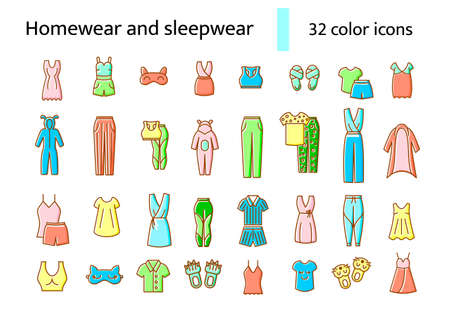 Homewear and sleepwear flat icons set. Comfortable clothes. Comfy garment. Bathrobe, domestic dress. Slippers, sleep mask. Color filled symbol. Isolated vector stock illustration
