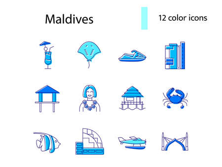 Maldives attributes outline icons set. Jet ski and sea plane. Water bungalow. Capital Male buildings. Color filled symbols collection. Isolated vector stock illustration