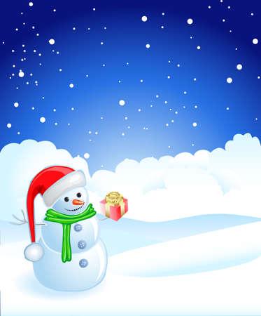 Snowman & Gifts Vector