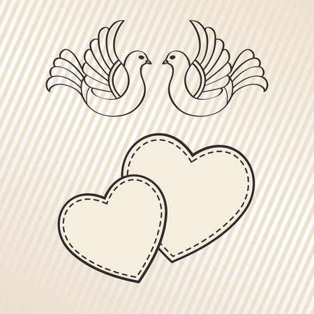 Huwelijksaankondiging met duiven, vector