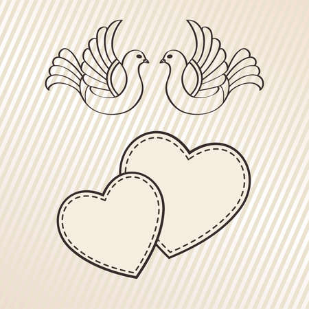 Wedding announcement with doves, vector  Vector