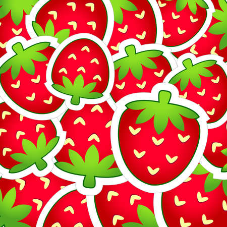 Red-green background of strawberries  Vector Vector