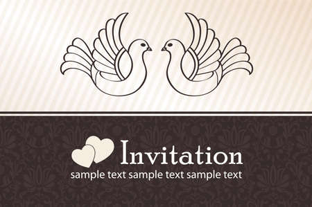 Wedding announcement with doves, vector