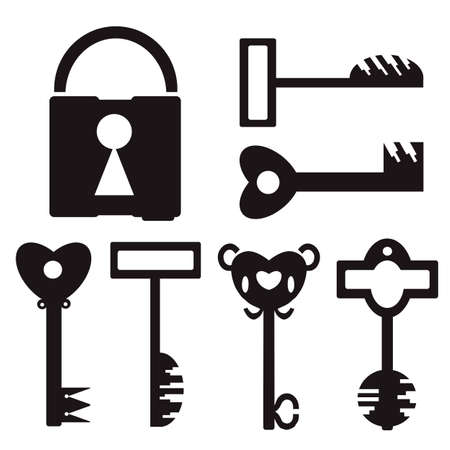 antiquities: 6 different black key and lock on white background