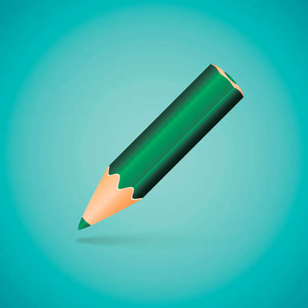 angled: Vector Illustration - Green Angled Pencil on Blue Background