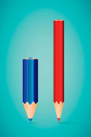 Vector Illustration - Two Vertical Pencils on Blue Background Illustration