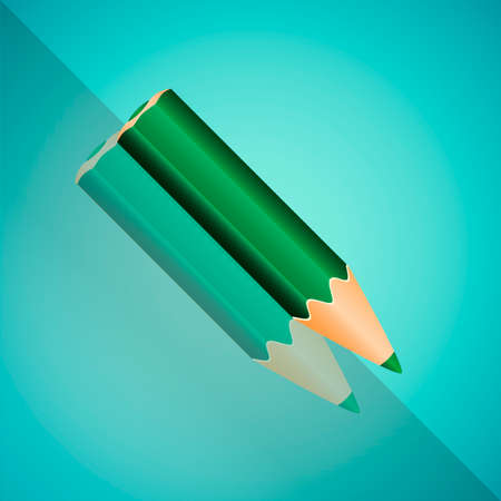angled: Vector Illustration - Green Angled Pencil With Mirror Shadow On Blue Background