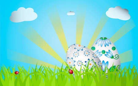Easter design with grass, sunrise, two eggs and ladybugs Vector