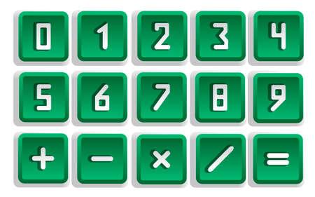 teclado numérico: Conjunto del botón numérico verde aislado - ilustración vectorial