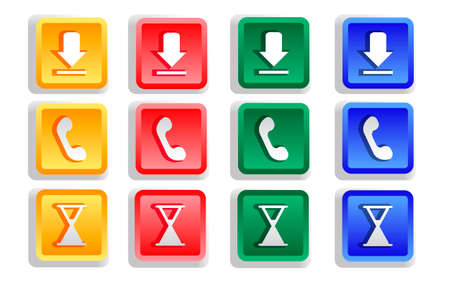 Colored sign button set isolated - vector illustration Vector