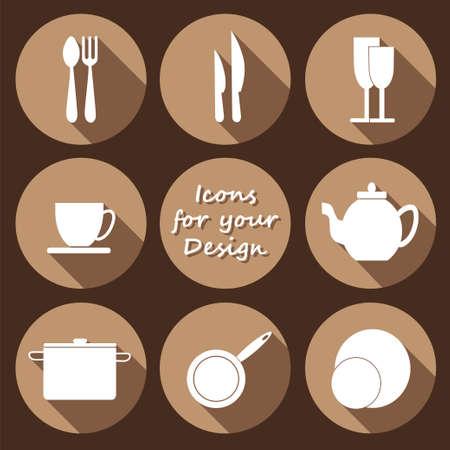 icone tonde: Round icons Vector set di utensili da cucina in bianco e nero stile design piatto