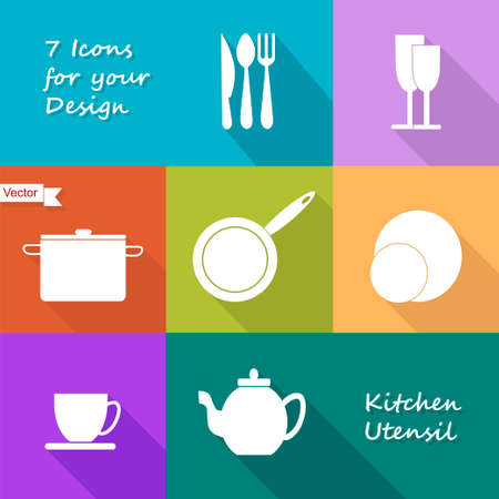 kitchen utensils: Seven icons of kitchen utensil in colored flat design style