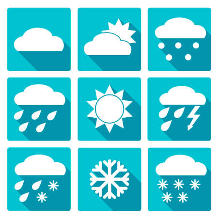 meteorologist: Vector Collection of Weather Icons in blue flat design style