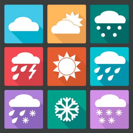 meteorologist: Vector Collection of Weather Icons in colored flat design style