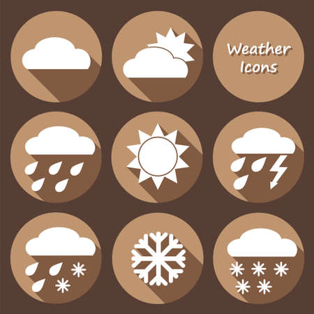 meteorologist: Vector Collection of Weather Icons in monochrome flat design style