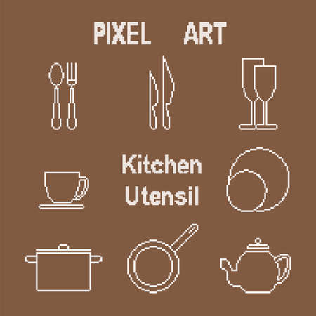 fork in path: Vector icons set of kitchen utensil in monochrome pixel art style
