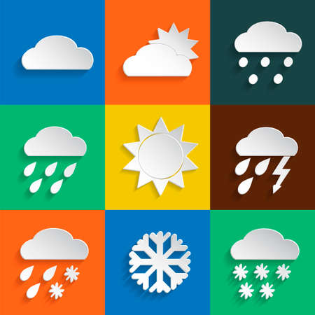meteorologist: Weather icons in paper style on colored backgrounds. Vector background or separate elements