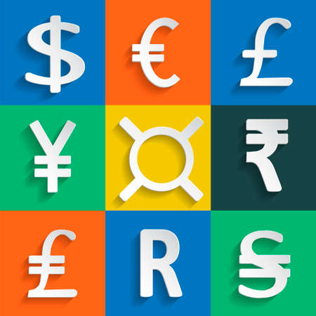 paper currency: Paper Currency Signs on colored background or separate elements
