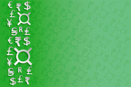 paper currency: Paper Currency Signs on green background or separate elements