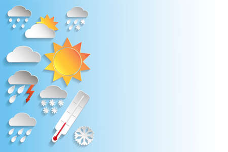 Weather signs in paper style on blue gradient background. Vector background or separate elements