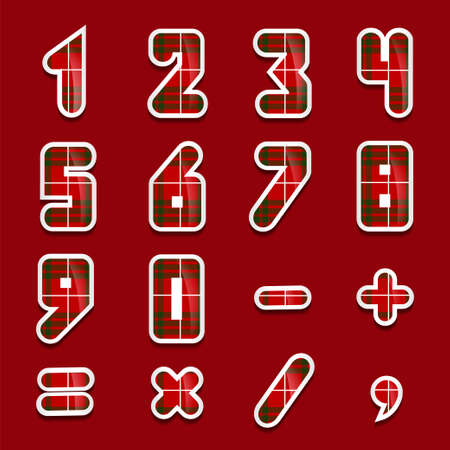 six objects: Simple form number and sign plaid set. Vector illustration background or separate stickers.