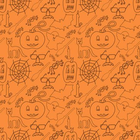 stovepipe: Halloween seamless pattern on orange background - Vector Illustration