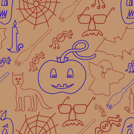 stovepipe hat: Halloween seamless pattern on beige background - Vector Illustration