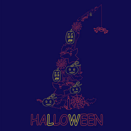 stovepipe: Halloween design from stroke elements - Vector Illustration