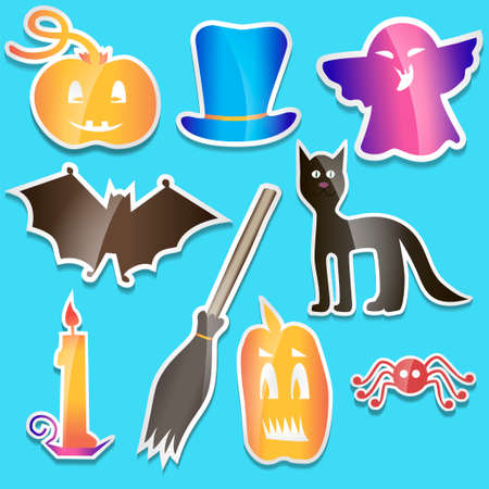 stovepipe hat: Helloween colored stickers - Vector Illustration Illustration