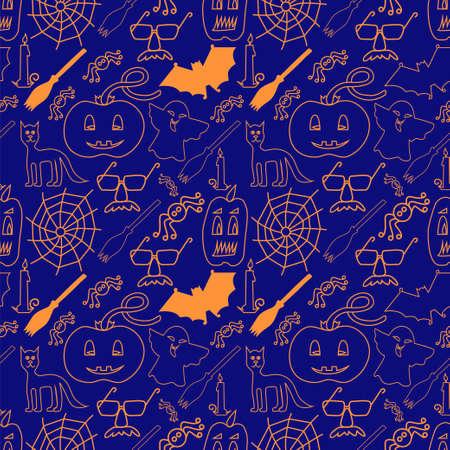 stovepipe: Dark halloween seamless pattern - Vector Illustration Illustration