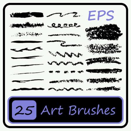 stage makeup: Art Brushes set - Black color - Vector Illustration