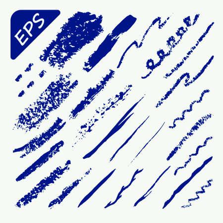 stage makeup: Art Brushes Set - Blue color - Vector Illustration Illustration