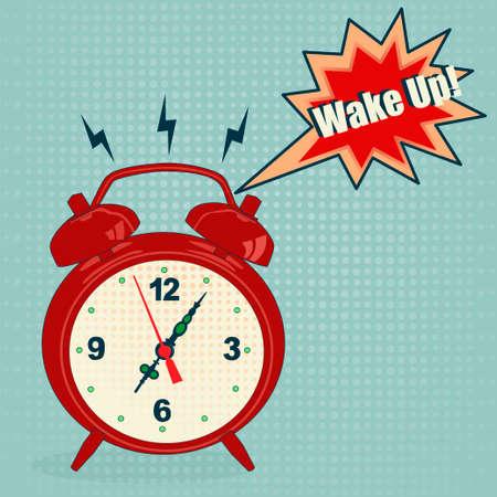 Red alarm clock in pop art style - Vector Illustration Illustration